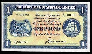 £1 Union Bank Of Scotland John A Morrison 7 April 1952 GVF PMS:UB69a E/35 860061