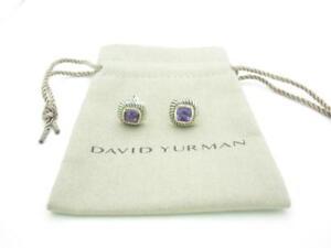 David Yurman Sterling Silver & 14k Gold Amethyst Albion Earrings - Pouch - A