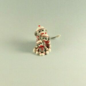 OOAK~Sock Monkeys~Mini~Christmas~Baby Toy~Artist Doll~Dollhouse~Cheryl Brown