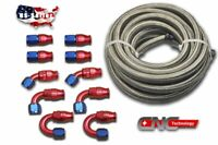 AN8 Stainless Steel Braided PTFE  Oil/Fuel Hose 20FT 10 Fittings Ethanol