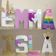 Childrens personalised Unicorn letters.Princess mermaid Disney girls pink plaque