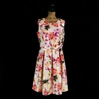 Liz Claiborne Womens 8 White Pink Floral Fit & Flare Dress Pleated Sleeveless