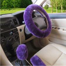 3 Pcs Steering Wheel Cover For Women Sets Purple Plush Hand Brake+Stop Lever