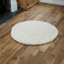 Large Modern Thick 5cm High Pile Plain Cream Shaggy Circle Round Rug 133 X 133cm