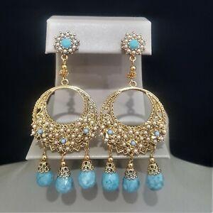 AQUA GOLD BLUE FAUX PEARL CHANDELIER EARRINGS