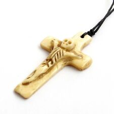 Tibet Bone With Skeleton Christian Cross Crucifix Pendant--49mm*29
