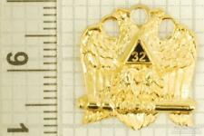 Gold-toned key chain with a gold-plated & enamel Masonic Double Eagle 32 fob