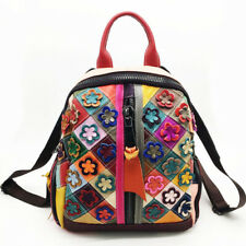 New Designer Cow Leather Colorful Floral Patchwork Women's Backpack Travel Bag