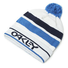 Oakley Men's MX Casuals B1b Logo Striped Pom Beanie Hat - White
