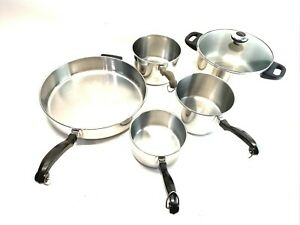 FARBERWARE Stainless Steel 18/10 Cookware Pots And Pan Set 6 Pc Set W/Lid