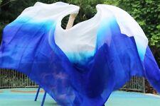 100% real silk belly dance veil cheap dance veils 250*114cm royal blue + white
