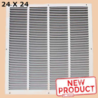 24 x 24 Air Return Vent Cover Grille Duct Size Steel Wall Ceiling Sidewall White