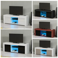 Modern TV Unit Cabinet Stand Sideboard Matt body and High Gloss Doors LED Lights