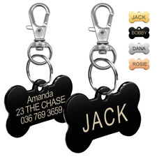 Stainless Steel Personalized Cat Dog ID Tags Engraved Name Customized Bone Shape