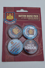 West Ham Football Club - Pack of 4 x 38mm Button Badges