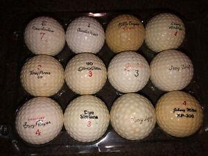 Dozen Old Signature Golf Balls Sanders, Harper, Penna, Nicklaus, Heard, Player 4