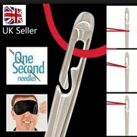 Gold 12 SELF THREADING SEWING NEEDLES - ASSORTED SIZES - EASY THREAD - UK Seller