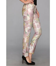 NWT JUICY COUTURE TROPICAL FLORAL FOIL STRAIGHT CROP  JEANS 24 $198  #JG008539