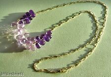 DRAMATIC RICH PURPLE Amethyst PINK Amethyst Briolette Necklace GOLD FILLED