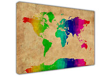 ATLAS WORLD MAP FRAMED CANVAS PRINTS WALL ART PICTURES HOME OFFICE POSTER IMAGES