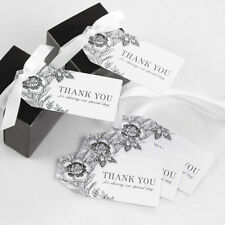 Vintage Floral Black and White Thank You Wedding Favor Tags 25/pk