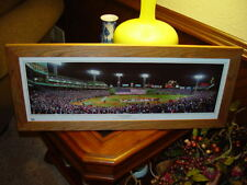 BOSTON RED SOX PANORAMIC CUSTOM CEDAR FRAMED MAN CAVE WORLD SERIES FLAG CEREMONY