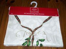 Lenox Holiday Nouveau Ribbon Oblong Table Runner Tassels 14X90 NWT