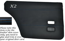 BLUE STITCH 2X REAR DOOR CARDS LEATHER SKIN COVERS FITS FORD CORTINA MK4 MK5