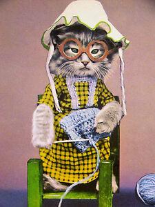 Harry Whittier Frees Grandma Kitten w EYEGLASSES & KNITTING 1958 Print Matted