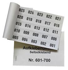 Aufklebenummern Tombola   100er Block selbstklebend, 1-2000  lieferbar