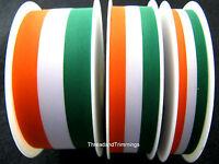 Green, White & Orange Irish Tricolour Ribbon 15mm, 25mm, 40mm - Free 1st Class