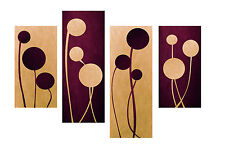 "LARGE PLUM CREAM ABSTRACT CANVAS WALL ART PICTURE SPLIT 4 PANELS 40"" X 28"""