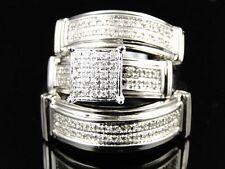 10K Mens Ladies White Gold Diamond Engagement Bridal Wedding Ring Trio Set .40Ct