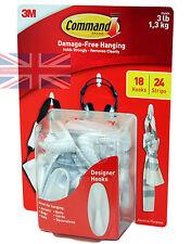 3M Command Damage Free Hanging Designer Hooks Package 18 Hooks + 24 Strips