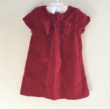 Jacadi Paris Baby Toddler Girl Red Velvet Pleated Holiday Bow Dress 24 Months