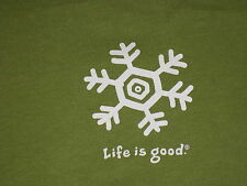 LIFE IS GOOD WOMENS L/S  SNOWFLAKE T- SHIRT  SIZE L