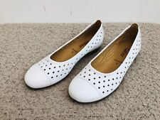 Gabor Ladies Leather White Shoes Pumps Flats Work Office Casual Smart Size UK 3