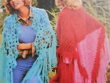 Crochet Pattern Ladies Girls Two Styles of Shawl Mohair Vintage