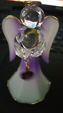 February - Birthstone - Glass Angel - Amethyst Winged Ornament - 3.5in