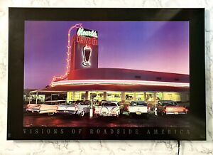 Classic Cars at Mearle's Drive In - Vintage Working 3D LED Light Up Wall Art