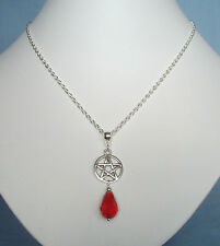 "Gothic Pentagram Red Faceted Teardrop 20"" Chain Necklace - Pagan Witch Wicca"