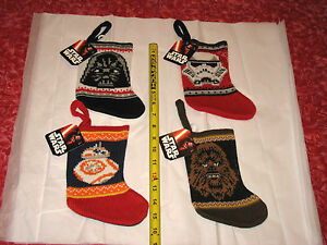 "LOT 4 Star Wars BB-8 Chewbacca Storm Trooper Darth Vader 7"" Christmas Stockings"