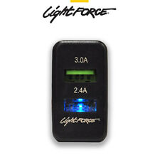 LIGHTFORCE DUAL 2.1 AMP USB CHARGER DASH SWITCH TO SUIT TOYOTA HILUX LANDCRUISER