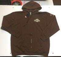 Harley-Davidson Men's Brown Medium zip hoodie sweatshirt B&S NEW