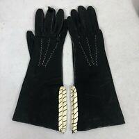 Vintage Art Deco Black & White Leather Gloves 6.5