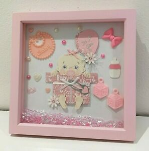 gorgeous  pink framed gift for a new baby Girl.