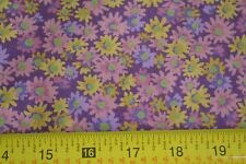 By 1/2 Yd, Pink Yellow & Green Calico on Purple Quilting Cotton, Concord, N450