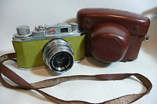 Serviced CLA 1950s Halina 35X 35mm Film Camera with Green Leather + Case