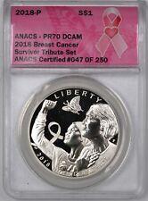 New listing 2018-P Breast Cancer Awareness Survivor Silver Dollar $1 - Anacs Pr70 Dcam -