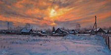 ORIGINAL RUSSIAN ART WINTER  SNOWY SUNSET LANDSCAPE ART OIL PAINTING OF VILLAGE